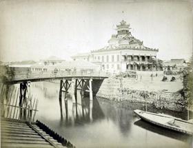 日本橋兜町第一国立銀行と海運橋...